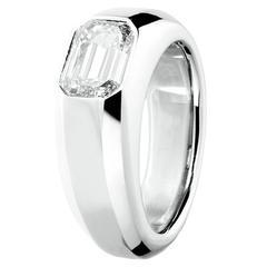 Renesim Broad 2 Carat Emerald Cut Diamond Platinum Ring