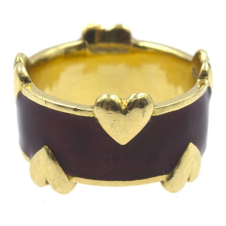 Tiffany and Co Schlumberger Enamel Gold Heart Band Ring For Sale