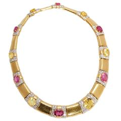 David Webb Multicolor Sapphire Diamond Gold Necklace