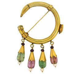 1930s Celtic Motif Emerald Pink Tourmaline Garnet Pearl Gold Pin Brooch Clip