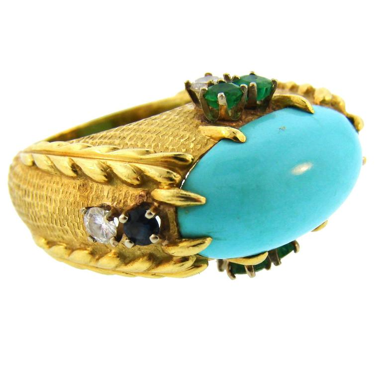 1970s Cartier Turquoise Diamond Sapphire Emerald Yellow Gold Cocktail Ring