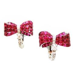 Invisible Ruby Ribbon Diamond Gold Earrings