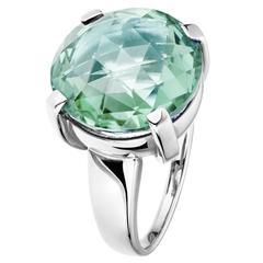 Renesim Green Amethyst Gold Round Ring
