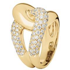 Renesim Pave Diamond Gold Knot Ring