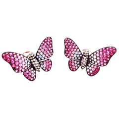 Color Sapphire White Gold Butterfly Earrings