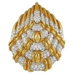 David Webb Diamond Gold Brooch