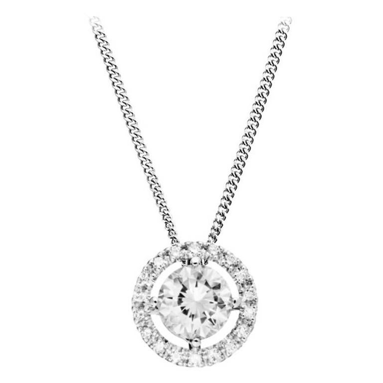 Renesim 117 carat diamond white gold pendant for sale at 1stdibs renesim 1 carat brilliant gold halo pendant aloadofball Image collections