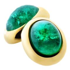 Renesim Emerald Cabochon Gold Cufflinks