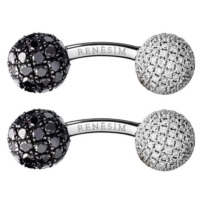 Renesim Black and White Pave Diamond Gold Sphere Cufflinks