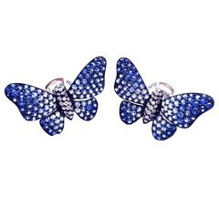 Graduated Sapphire Gold Butterfly Earrings
