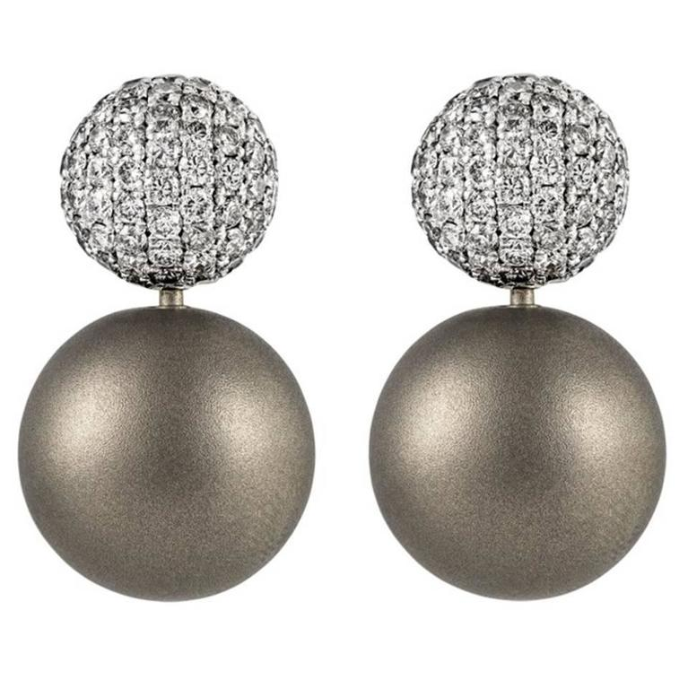 Renesim Rhodium Plated Pave Diamond Gold Earrings