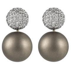 Renesim Rhodium Plated Pave Diamond Gold Earrings
