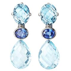 Renesim Blue Topaz Gold Drop Earrings
