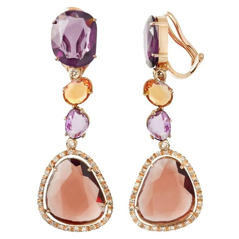Renesim Pink Sapphire Rhodolite Brown Diamond Gold Drop Earrings