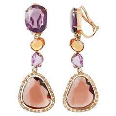 Renesim Pink Sapphire Rhodolite Brown Diamond Gold Drop Earrings