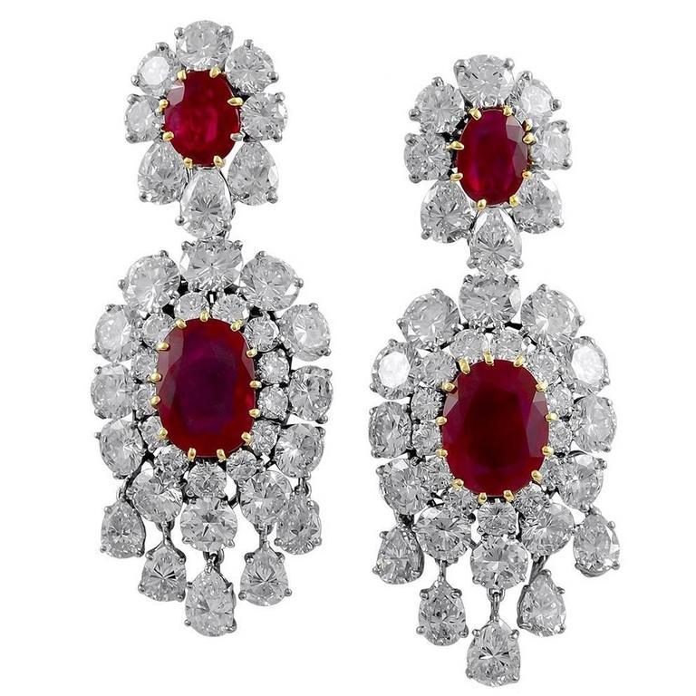 Important Van Cleef & Arpels Paris Burma Ruby Diamond Earclips 1