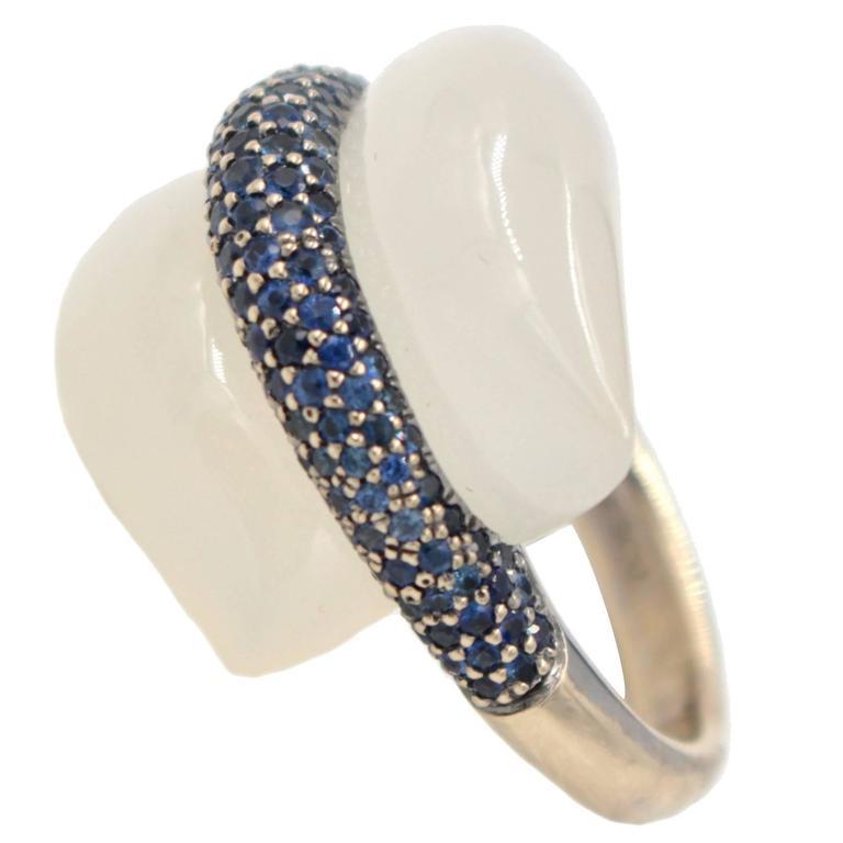 Moonstone Sapphire Rhodium Gold Ring