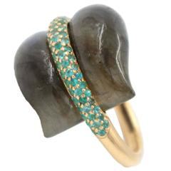 Ionescu Design Labradorite Paraiba Tourmaline Gold Ring