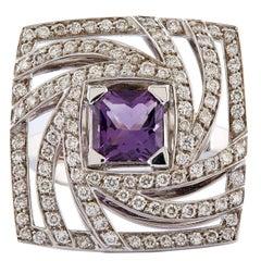 Luca Carati Amethyst Diamond Gold Square Swirl Ring