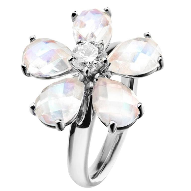 Renesim Floral Moonstone Diamond Gold Ring