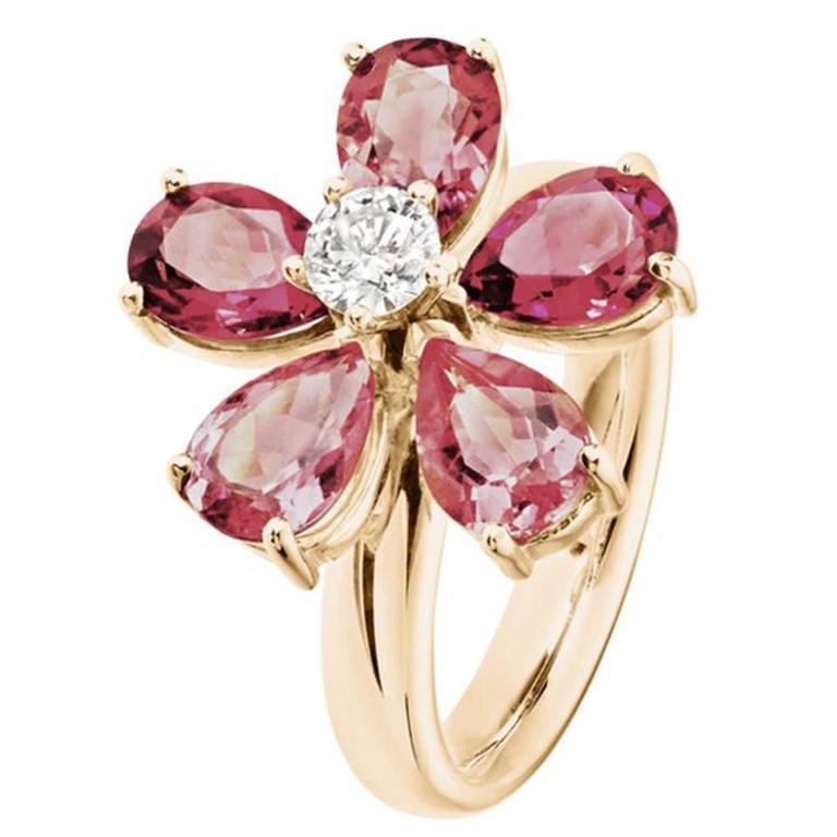 Renesim Floral Tourmaline and Diamond Gold Ring