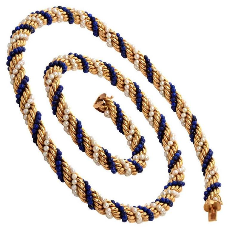 Twisted Pearl Lapis Lazuli Bead Gold Rope Necklace