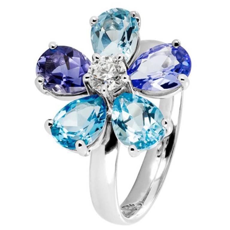 Renesim Floral Diamond Blue Gemstone Gold Ring For Sale