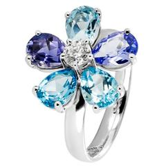 Renesim Floral Diamond Blue Gemstone Gold Ring