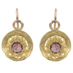 Garnet Gold Sleeper Earrings
