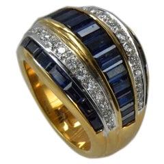 5.33 Carat Blue Natural Sapphire Baguette White Diamond Unique Cocktail Ring
