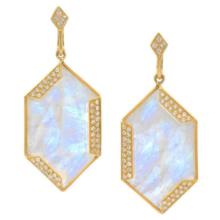 Lauren Harper Golden Hexagon Moonstone Diamond Gold Dangle Earrings