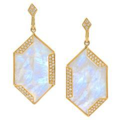 Golden Hexagon Moonstone Diamond Gold Dangle Earrings