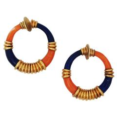 Pair of French Estate Lapis and Coral Earrings