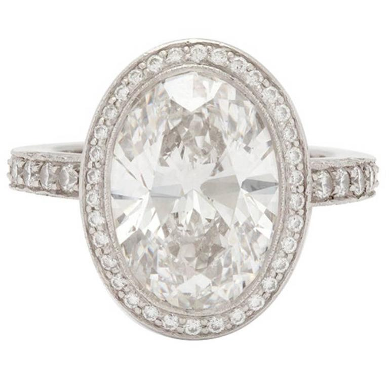 Tiffany and Co 4 78 Carat Custom Oval Diamond Platinum Ring at 1stdibs
