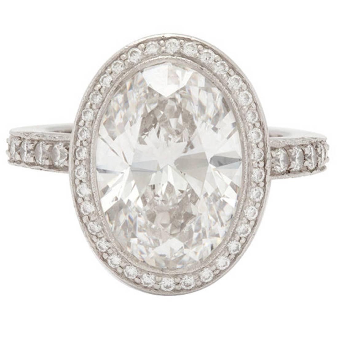 Tiffany And Co 478 Carat Custom Oval Diamond Platinum Ring At 1stdibs