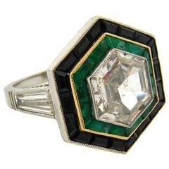 Art Deco Revival Hexagon Shaped Diamond Emerald Black Onyx Platinum Ring