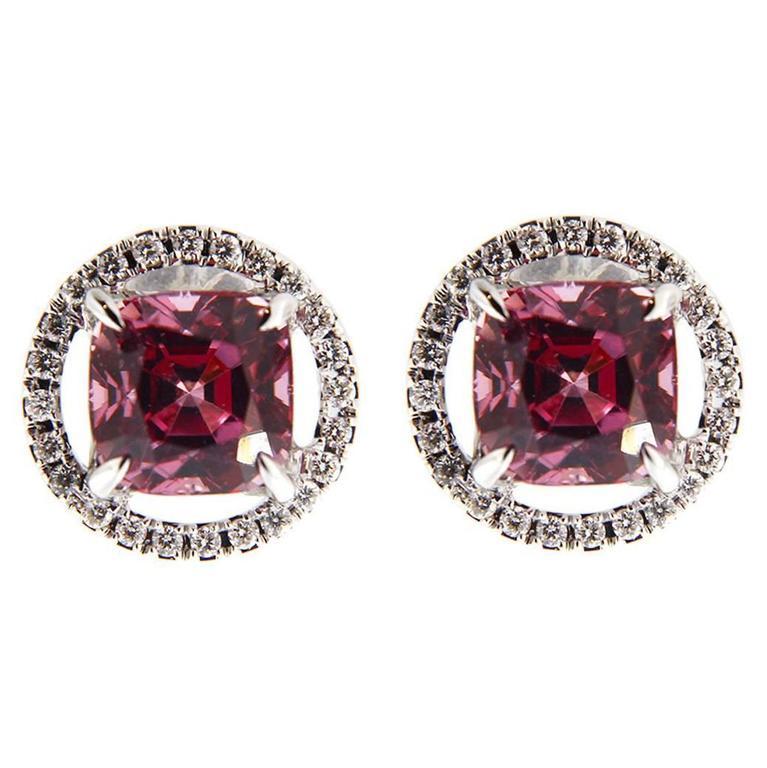 Jona Pink Spinel White Diamond Halo 18 Karat White Gold Stud Earrings