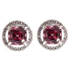 Jona Pink Spinel White Diamond Halo 18 Karat White Gold Stud Earrings