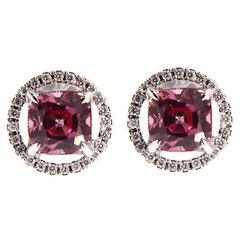 Jona Pink Spinel Diamond Halo Gold Stud Earrings