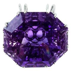 68.2 Carat Amethyst Fancy Cut Gemstone Pendant Necklace