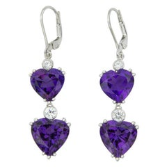 Amethyst Diamond Gold Hearts Gold Drop Earrings Fine Estate Jewelry