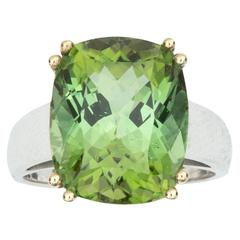 Classic 10.8 Carat Green Tourmaline Two-Color Gold Ring