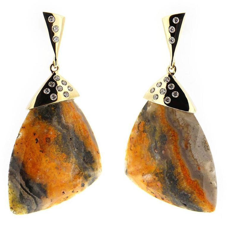 Jona Bumblebee Jasper White Diamond 18 Karat Yellow Gold Dangling Earrings