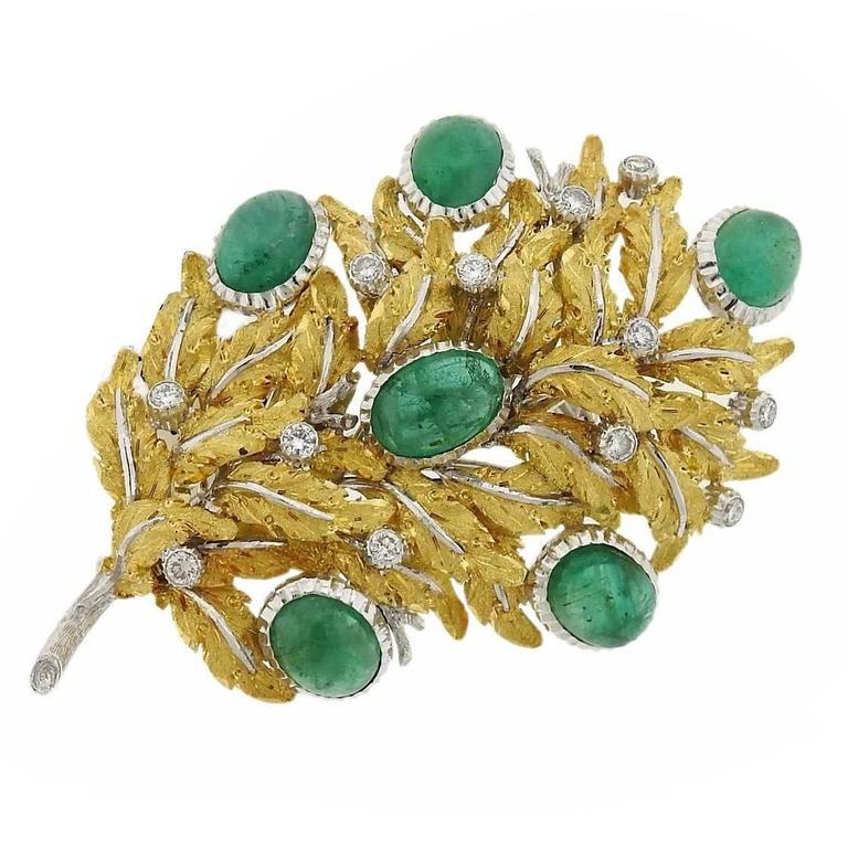 Buccellati Gold Emerald Diamond Leaf Motif Brooch Pin