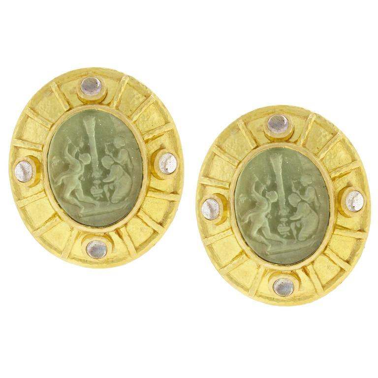 Elizabeth Locke Venetian Glass Intaglio and Moonstone Earrings