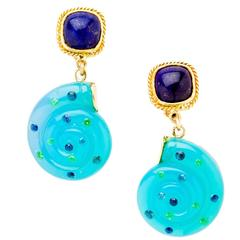 Diane Griswold Johnston chalcedony snail drop cushion lapis lazuli gold earrings