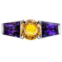 1930s Art Deco Amethyst Yellow Sapphire Platinum Ring