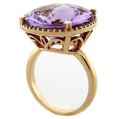 Round Amethyst Diamond Halo Rose Gold Ring
