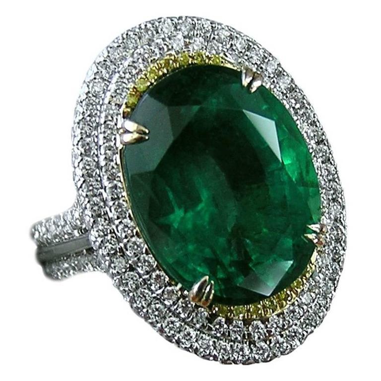 11.36 Carat Emerald and Diamond Ring