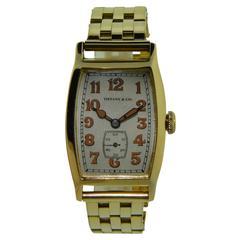 Tiffany & Co. by Longines Watch Co. Yellow Gold Tonneau Shape Watch